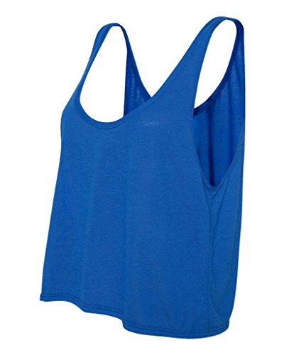 Joe's USA- Ladies' Flowy Boxy Cropped Tank Top in 12 Colors True Royal (Tank Top With Jewels)