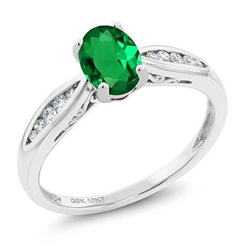10K White Gold 0.67 Ct Oval Green Simulated Emerald and Diamond Engagement Ring