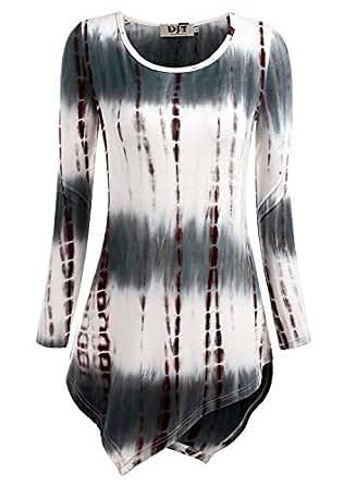 DJT Womens Tie Dyed Hankerchief Hemline Tunic Top Small #17 Tie Dye_Coffee