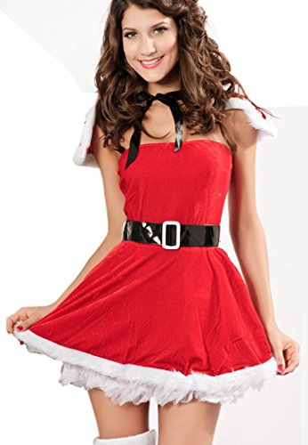 LESRANCE Black Friday Christmas Dress with Shawl Sexy Tights One Size (Homemade Costumes With Tights)