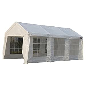 SNAIL 10 x 20-feet Domain Carport Outdoor Waterproof Portable RV Carport Storage Shelter Enclosed Party Tent with Heavy Duty 8 Legs & Removable Sidewalls, White