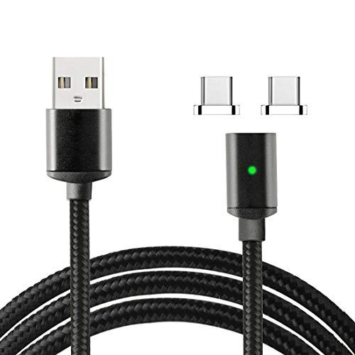 Lively Life Magnetic Type C Ladekabel Sync Ladekabel mit 2 Anschlüssen für Samsung, Huawei, MacBook, HTC, Sony und mehr USB C-Geräte 3,3ft / 1m Schwarz