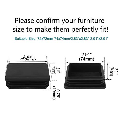 uxcell 40pcs 75 x 75mm Plastic Square Ribbed Tube Inserts End Cover Cap, for 2.83'' to 2.91'' Inner Size, Furniture Chair Table Feet Floor Protector by uxcell (Image #1)