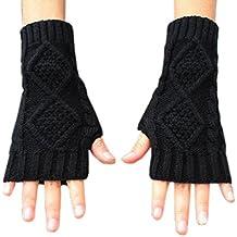NOVAWO Women's Hand Crochet Winter Warm Fingerless Arm Warmers Gloves