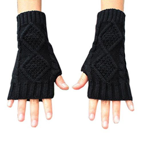 Novawo Women's Hand Crochet Winter Warm Fingerless Arm Warmers (Knitted Fingerless Gloves)