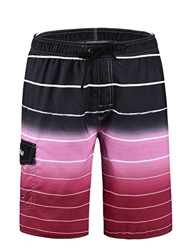 Nonwe Men's Beachwear Quick Dry Striped Beach Shorts Red 28
