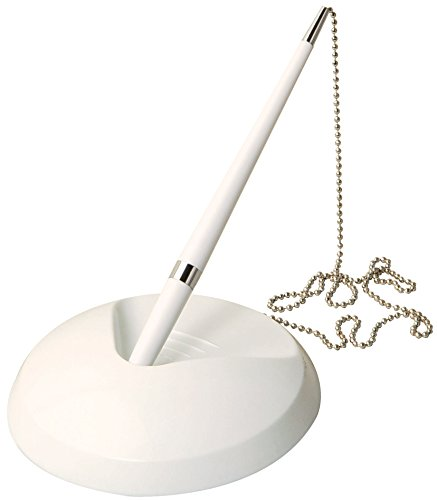 White Reception Pen On Chain With Stand + 3 Refills - Bank Desk Hotel Wedding