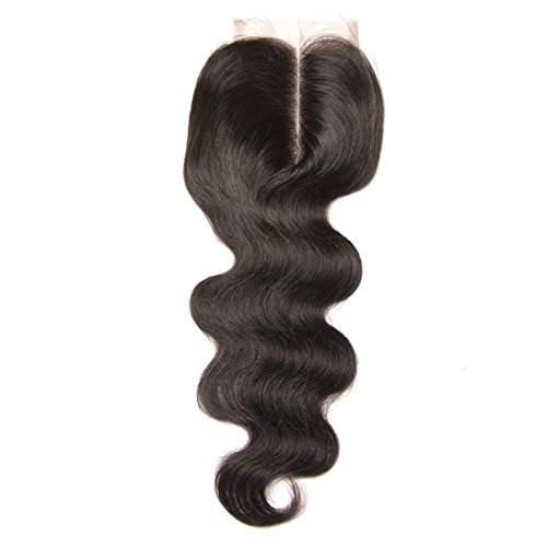 UNICE Hair Brazilian Virgin Hair 4x4 Body Wave Lace Closure Middle Part Natural Black 14inch