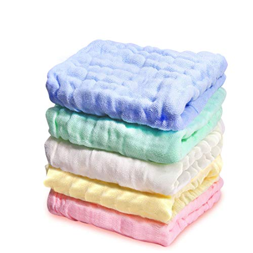 Kyapoo Baby Muslin Washcloths, Towels Premium Extra Soft Newborn Baby Face Towel, Baby Registry as Shower Gift 5 Pack