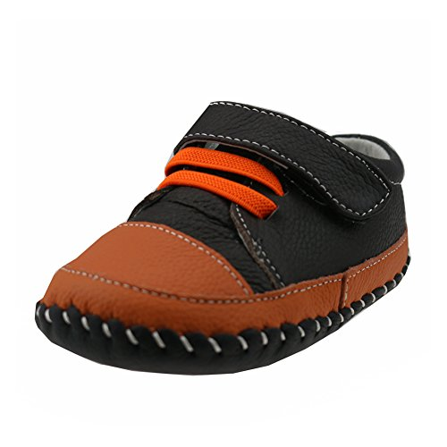 Orgrimmar Baby Boys Girls Genuine Leather Soft Sole Shoes (Size L, D15 Orange Lace)