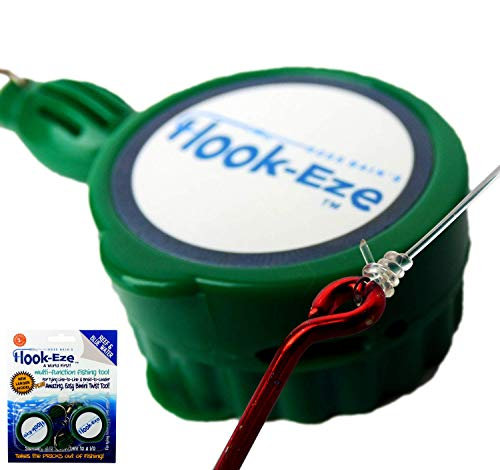 HOOK-EZE New Larger Model Quick Fishing Knot Tool (Green) |Hook Tying & Safety Device Tie Hooks Fast |Smart Hook Cover Travel Safely Fully Rigged. Multi Function Fishing Device.
