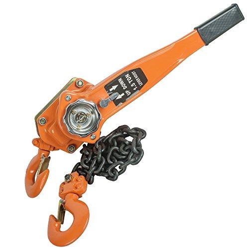 Zinnor Chain Block 1.5T 3000LBS Ratchet Lever Block Chain Hoist Manual Lever Chain Hoist Come Along Chain Puller 5 FT Lift