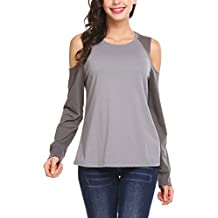 Easther Women's Cold Shoulder Long Sleeve Shirt Color Block Casual Tunic Tops
