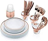 """Allure Maek 150 Pieces Premium Quality Plastic Plates Rose Gold Rim-Disposable Dinnerware 150 Pieces Includes:25 Dinner Plates 10.25"""", 25 Salad Plates 7.5"""", 25 Knives, 25 Forks, 25 Spoons,25 Cups for Wedding, Parties (Rose Gold)"""