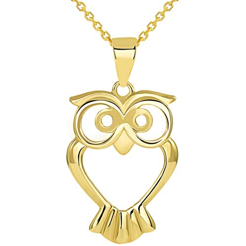 Solid 14K Yellow Gold Open Big Eyes Owl Animal Pendant Necklace, 18