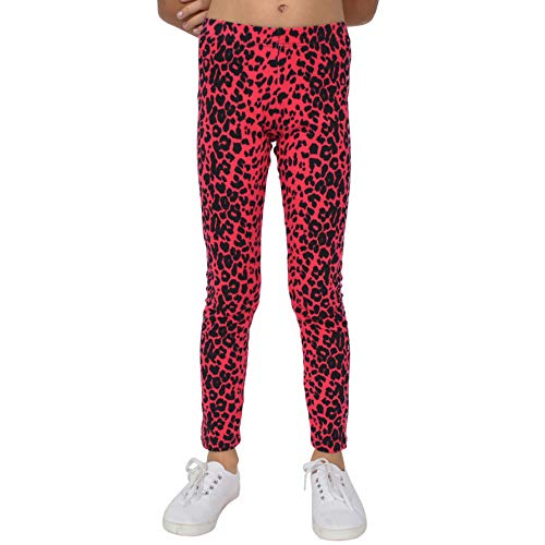 Stretch is Comfort Girl's Footless Leggings Pink Cheetah Print Medium ()