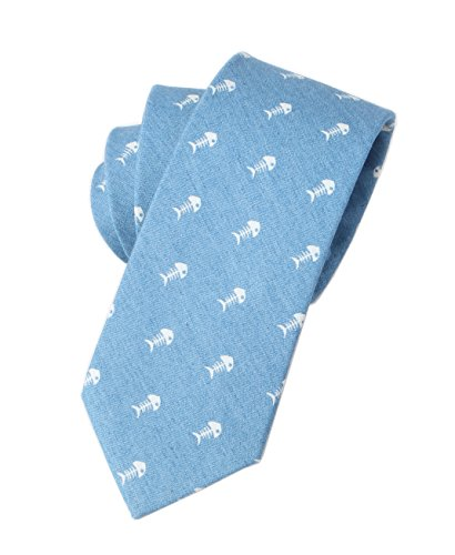 Men Light Sky Blue Modern Mini Fish Self Work church Tie Winter Big BOY Neckties ()