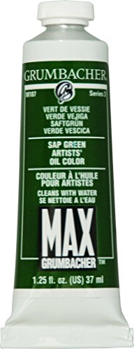 Grumbacher Max Water Miscible Oil Paint, 37ml/1.25 oz, Sap Green
