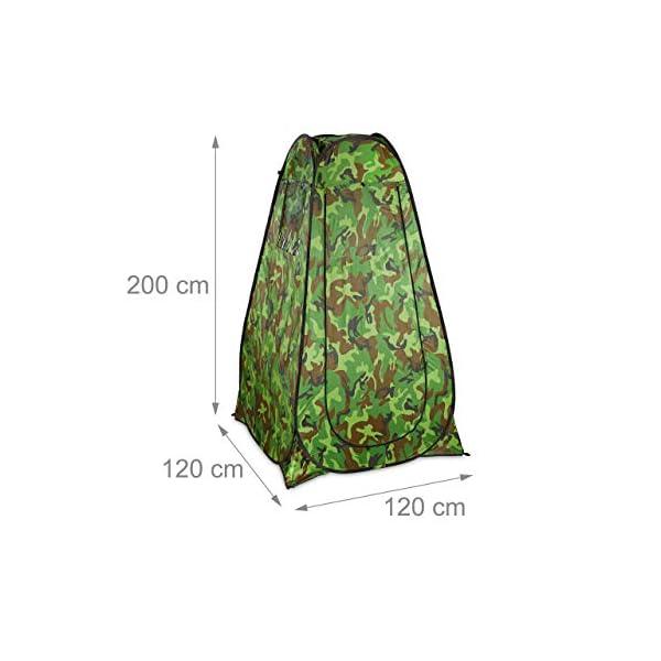 Relaxdays Duschzelt, Pop Up Stehzelt für Camping, Garten & Outdoor, Umkleide- & WC-Zelt, 200 x 120 x 120 cm, Camouflage