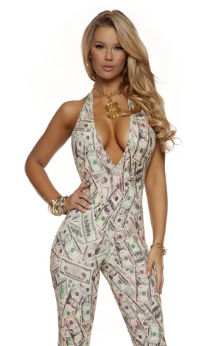 Forplay Women's Money Print Jumpsuit with Adjustable Halter Neck Tie, Cream, Large/X-Large]()