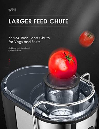 Centrifuga Frutta e Verdura, Aicook 600W Estrattore di Succo a Freddo a 65MM Bocca, Acciaio Inossidabile a Usi… 3