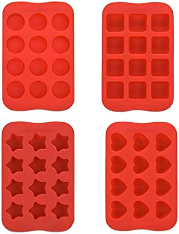 Pumsun 4PCS Silicone Ice Tray Mold, Bar Pudding Jelly Chocolate Maker Mold 12 Ice Cube,Circle, Square, Love, Stars