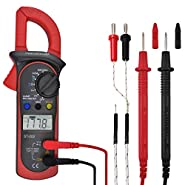 MokenEye Digital Clamp Meter Multimeter Volt Meter with Auto Ranging, Measures Voltage, AC Current, Amp, Volt, Ohm, Diode, Temperature and Resistance Test Tester