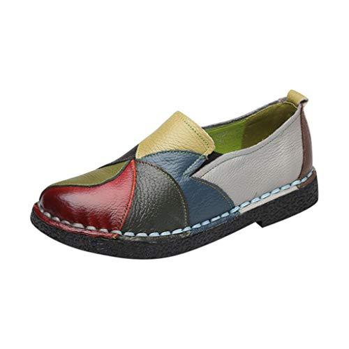 (Londony Loafers for Women, Colorful Soft Bottom Non-Slip Dance Shoes Round Head Flat Lazy Shoes Casual Commuter Shoes Green)