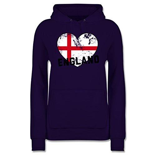 Shirtracer Fußball-Weltmeisterschaft 2018 - England Herz Vintage - Damen Hoodie Lila UKT5BfnMg