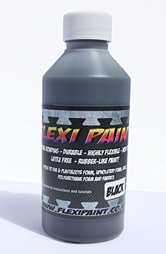 Flexi Paint - Cosplay Paint for Worbla, Eva Foam, Upholstery Foam, Latex, Fabric Safe Non-Toxic. Extremely Flexible (Black, 17.6 oz/500 g) ()