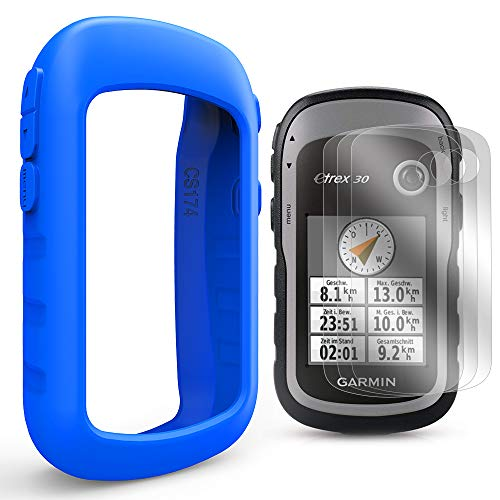 Etrex Accessories (TUSITA Case with Screen Protector for Garmin eTrex 10 20 20X 30 30X - Silicone Protective Cover Skin - Handheld GPS Navigator Accessories (Blue))