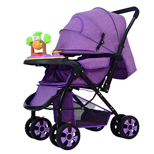 Laz Baby Stroller Foldable Infant Toddler Pram from Birth to 36 Months, with 5-Point Harness and Cup Holder (Color : Purple)