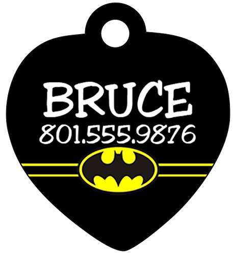 Batman Pet Id Tag for Dogs & Cats Personalized w/ Name & Number (Dog Batman)