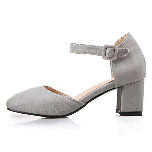 COOLCEPT Mujer Moda Correa de Tobillo Sandalias Tacon Ancho Cerrado Zapatos Tamano Gris