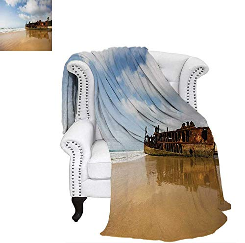 Summer Quilt Comforter Antique Rusty Pirate Ship Wreck on The Coast in Caribbean Island Pacific Sea View Digital Printing Blanket 50