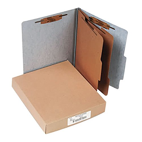 15016 8 1/2'' x 11'' Gray 6-Section Presstex Classification Folder with Prong Fasteners and 2/5 Cut Tab, Letter - 10/Box