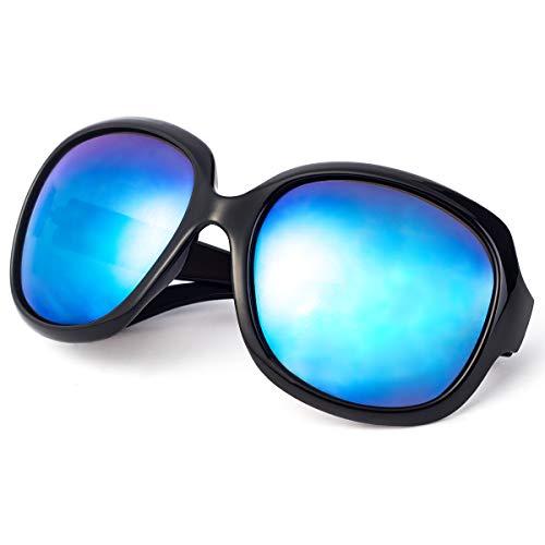 Polarized Sunglasses for Women, AkoaDa UV400 Lens Sunglasses for Female Ladies Fashionwear Pop Polarized Sun Eye Glass (Black Frame/Blue ()