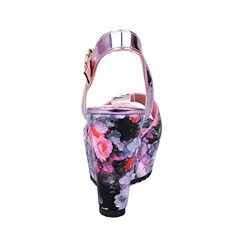 Sandali Con Fibbia A Punta Aperta Color Porpora Assortiti Di Amoonyfashion