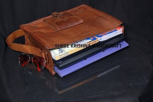 SKH Men's Genuine Vintage Brown Leather Messenger Shoulder Laptop Bag