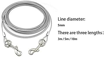 Dog Tie-Out Cable Leash Steel Wire Metal Long Chain Leads Heavy Duty 10//16//32FT