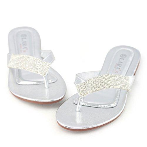 LARA's Women's Metallic Thong Flat Sandals Rhinestone Embellished Summer Dress Flip Flops Silver US 9.5