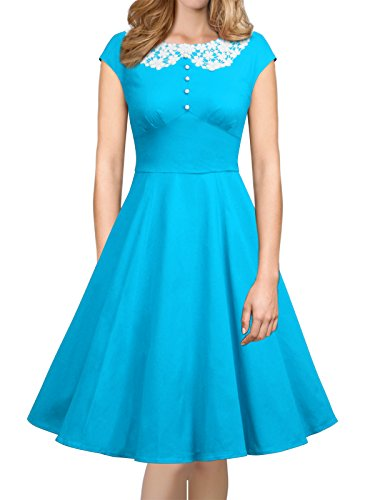 iLover Womens Classy Vintage Audrey Hepburn Style 1940's Rockabilly Evening Dress,Blue,X-Large by iLover