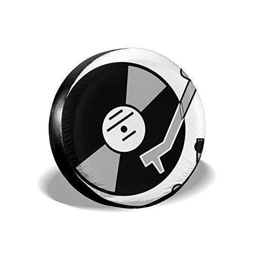 Love Taste Turntable Music Vinyl Record Dj Spare Tire Cover Polyester Waterproof Dust-Proof Universal Spare Wheel Tire Cover Fit for Jeep,Trailer, RV, SUV and Many Vehicle - Records Taste Music