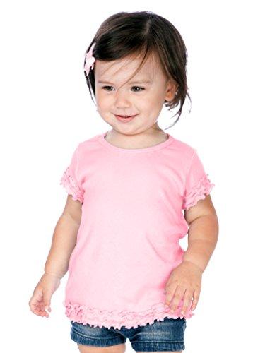 Girls Lettuce Edge - Kavio! Infants Crew Neck Lettuce Edge Short Sleeve Baby Pink 24M