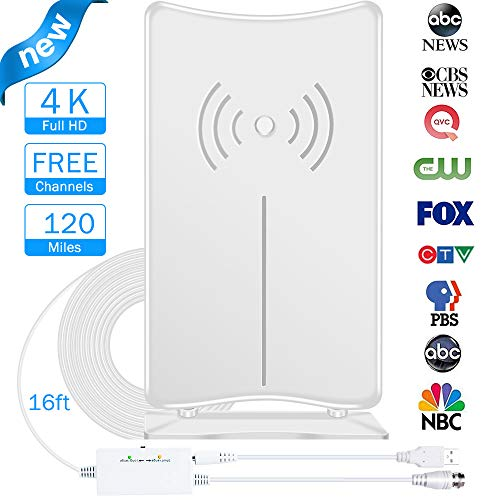 (Digital TV Antenna, JoyGeek Amplified HDTV Antenna Stand Indoor 80-120 Miles Long Range Signal Wave Support 4K 1080P HD Freeview Powerful Home Amplifier Signal Booster 16ft Coax Cable USB Power)