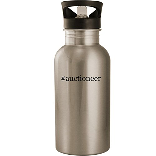 #auctioneer - Stainless Steel Hashtag 20oz Road Ready Water Bottle, Silver