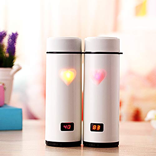Light Up Water Bottle - 12oz Smart Water Bottle Travel Mug Tumbler. Good for Hot and Cold. Touch✋Magic Senor and Color Changing Magic Heart Lights Up - Best Gift for Mom, Purple