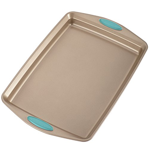Rachael Ray Nonstick Bakeware 5-Piece Set, Latte Brown with Agave Blue Handle Grips by Rachael Ray (Image #1)