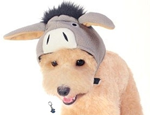 Plush Faux Fur Character Themed Hats with Charm for Dogs - Asssorted Characters - Sizes XS thru XL (Donkey, (Clip On Dog Ears Costume)