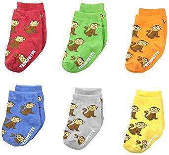 Trumpette Baby-Boys 6-pairs Newborn Maxwell Monkey socks, Multi, 0-12 Months (Boys Socks Trumpette)